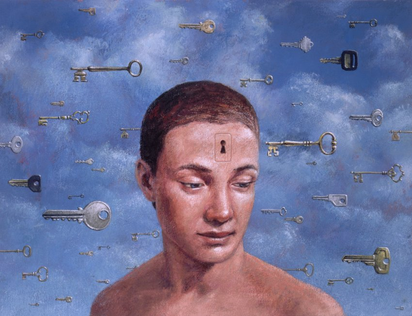 Person With Keyhole In Forehead Surrounded by Floating Keys